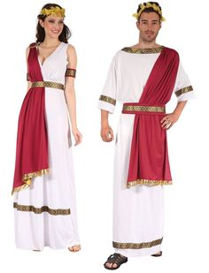 Greek GOD OR Goddess Costume Great Toga Fancy Dress Headpiece RED White Adult | eBay