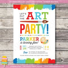 Printable Art Party Invitation - Rainbow Paint Party Birthday Invite DIY - paint arts crafts colorful invitation child children on Etsy, $16.00