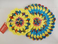 Handmade Colorful Round Crochet Coaster Set by MeruHome