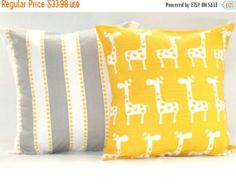 DECORATIVE PILLOW COVER....INSERT NOT INCLUDED.... Check out my FAST shipping time: https://www.etsy.com/shop/PillowsByJanet?ref=hdr_shop_menu# For more yellow / gray patterns, please click here: https://www.etsy.com/shop/PillowsByJanet?section_id=12534754&ref=shopsection_leftnav_6 Most of these patterns also come in pink and grey: https://www.etsy.com/listing/125943836/spring-salepillow-baby-nursery-pillow?ref=shop_home_active Same print, front and back. All of my pillow covers have...
