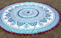 Blue Ombre Yoga Mat Round Roundie towel with Red tassels