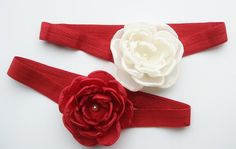 Red Flower #Headband with #Pearl Center