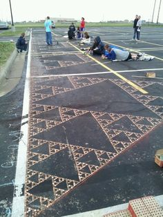 "Cool design idea: ""Sierpinski Triangles""  made from pennies"