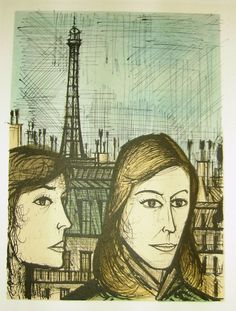 bernard buffet 1967 lithograph in color.