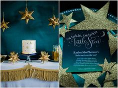 Winter Baby Shower ideas in a gorgeous gold, glitter and star theme with deep shades of teal and aqua.