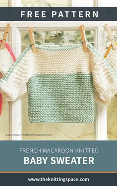 Diy Crafts - summercrafts,summerstyle-Add this charming French Macaroon knitted baby sweater to your little closet. Free Baby Sweater Knitting Patterns, Knit Baby Sweaters, Knitted Baby Clothes, Free Knitting, Baby Knits, Baby Girl Dress Patterns, Baby Clothes Patterns, Baby Kimono, Toddler Sweater