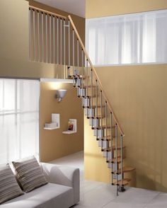 Staircase design for small spaces best mezzanine stairs design best ideas about small space stairs on Small Space Staircase, Steep Staircase, Rustic Staircase, House Staircase, Staircase Design, Staircase Ideas, Open Staircase, Spiral Staircases, Attic Stairs