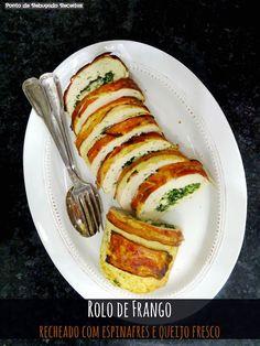 Rolo de frango recheado com espinafres e queijo fresco