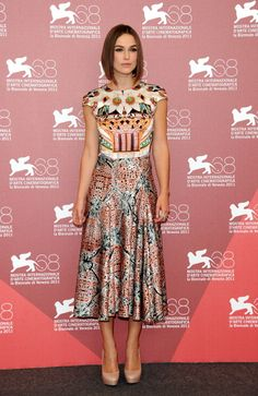 Mary Katrantzou Prints: Keira Knightley wore this fall 2011 cap-sleeve dress, adorned with two striking, complementary prints, at the Venice Film Festival.