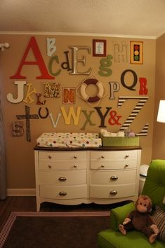 Such a cute idea for a nursery wall.  Buy about 3 letters each month you are pregnant from various locations or have a baby shower where each guest is assigned a letter to bring.