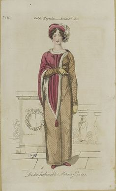 1812. Velvet cape trimmed with swansdown and matching hat.