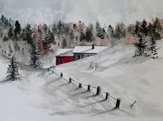 Original Watercolor Painting Two Cabins in the by pinetreeart, $59.00