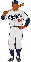 This is what a Dodgers baseball uniform would have looked like in the 1940s-1950s