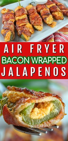 These 🥓🌶 air fryer bacon wrapped jalapenos 🥓🌶 will be an instant hit in your home! They're stuffed with a taco cream cheese filling and you might want to double the recipe - or you'll end up eating them all yourself! Bacon Wrapped Chicken Bites, Bacon Wrapped Jalapenos, Stuffed Jalapeno Peppers, Jalapeno Recipes, Spicy Recipes, Pork Recipes, Bacon Recipes For Dinner, Air Frier Recipes, Bacon On The Grill