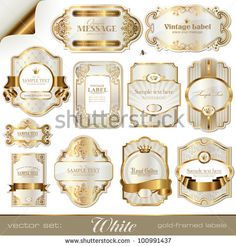"""Buy the royalty-free Stock vector """"White gold-framed labels"""" online ✓ All rights included ✓ High resolution vector file for print, web & Social Media Honey Logo, Thank You Labels, Wine Label Design, Gold Stock, Printable Labels, Printables, Clip Art, Vintage Labels, Digital Collage"""