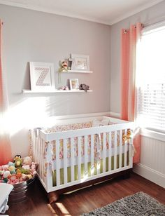 nurseries - white beadboard white modern crib paisley crib bedding gray walls coral grommet geometric curtains window panels tin bucket white floating shelves gray flokati rug
