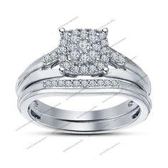 Bridal Ring Set In Rd Cut Sim Diamond 14k White Gold FN 925 Silver For Women's #WomensBridalRingSet
