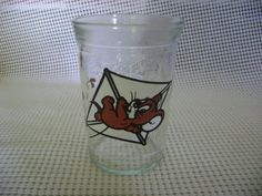 TOM and JERRY jelly jar Welch's 1990 JERRY mouse on KITE GLASS vintage #Welchs