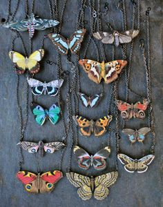 moth and butterfly collection necklaces   Lily Wikoff