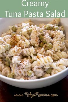 Tuna Pasta Salad that is easy to make with pasta, mayo, peas, paprika, salt and pepper. It is great for picnics and BBQs! Mayo Pasta Salad Recipes, Tuna Recipes, Healthy Eating Recipes, Cooking Recipes, Recipies, Party Recipes, Meal Recipes, Cooking Ideas, Healthy Foods