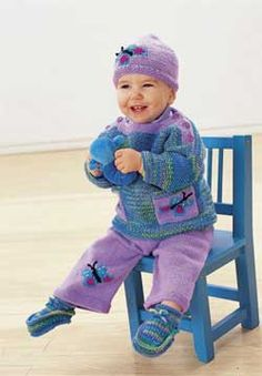 This adorable butterfly set includes patterns for matching hat, pullover, pants, and booties knit in Patons Astra. Ages 6-24 months.