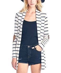 Look what I found on #zulily! Oatmeal & Navy Blue Stripe Elbow Patch Open Cardigan #zulilyfinds
