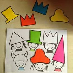 matching hats activities for kids Toddler Learning Activities, Montessori Activities, Infant Activities, Activities For Kids, Crafts For Kids, Theme Carnaval, Shape Games, Crazy Hats, Business For Kids