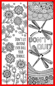 Coloring Bookmark Doodles #quotes #bookmarks #coloring