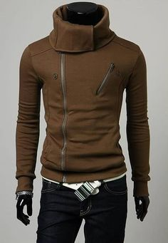 Men Korean Style Stand Collar Double Zippers Design Khaki Thick Cotton Hoodie M/L/XL/XXL@S5W11-1k