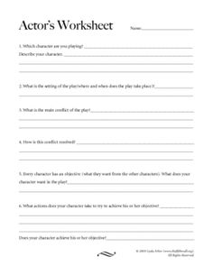 A basic questionnaire for student actors, covering the who/what/where/when/and why of any play, as well as character objectives and actions, ensuring your students are well prepared to set foot on stage!