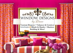 Window Designs by Diane, LLC offers a large selection of custom fabric drapery & valances, cornices . Fabric Roman Shades, Woven Wood Shades, Custom Pillows, Custom Fabric, Hunter Douglas Shutters, Modern Roman Shades, Bay Window Treatments, Long Grove