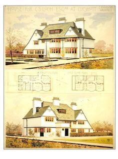 C.F.A. Voysey Architechture Postcard: Arts & Crafts House Plans - Surrey, 1898  | eBay