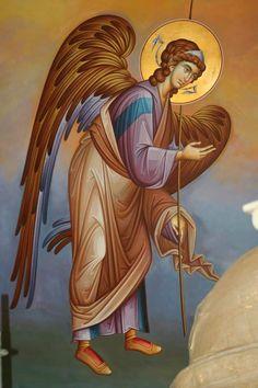 Byzantine Art, Byzantine Icons, Religious Icons, Religious Art, Archangel Raphael, Religious Paintings, Orthodox Icons, Angel Art, Blessed Mother