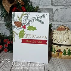 Hi guys   Back this time with a card I made for an order. For this one I went with some traditional winter foliage stamps.       I stamped ...