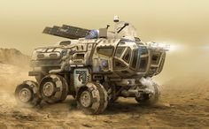 Large Terrestrial Exploration Rover Vehicle. Comfortably accommodates six for up to six weeks, with optional laboratory facilities or cargo module.  Airlock allows onboard crew to operate without environment suits.  (ArtStation - MEV 02 - Mars Exploration Vehicle, Igor Sobolevsky)