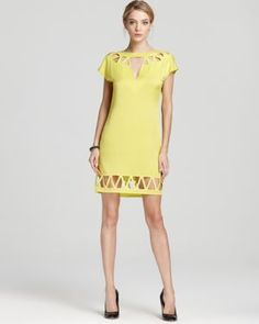 Catherine Malandrino Yellow Cap Sleeve Dress with Cut Outs