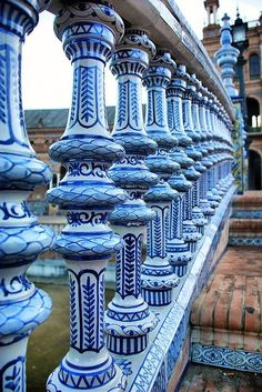 blue and white balustrade, plaza de espana, sevilla, spain Granada, Oh The Places You'll Go, Places To Travel, Saint Marin, Beautiful World, Beautiful Places, Madrid, Seville Spain, Spain And Portugal