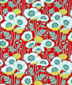 Joel Dewberry Pristine Poppy Poppy Fabric - $8.9 | onlinefabricstore.net  My new favorite read and Teal