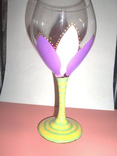 Handpainted Spring wine glasses Mothers day by sarahvanalstine, $7.50