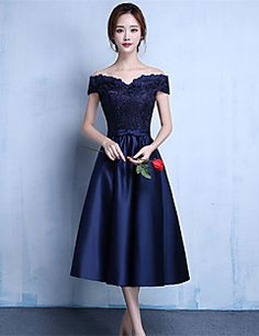 Cocktail+Party+Dress+A-line+Off-the-shoulder+Tea-length+Jersey+with+Sash+/+Ribbon+–+USD+$+255.00