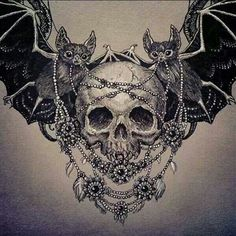 .Skull and bats chest piece