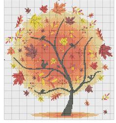 Hama Beads Patterns, Beading Patterns, Embroidery Patterns, Cross Tree, Cross Stitch Tree, Modern Cross Stitch Patterns, Cross Stitch Designs, Cross Stitching, Cross Stitch Embroidery