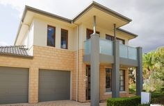 Photo about Typical facade of a modern australian house at noon. Image of property, housing, estate - 25964647 Home Design Plans, Plan Design, Overhead Garage Door, Garage Doors, Highland Beach, Miami, Mother Earth News, Australian Homes, Modern Buildings