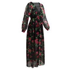 bb9949f9fdd Anself элегантный Цветочный принт летнее платье макси Для женщин с длинным  рукавом пляжное платье плюс Размеры