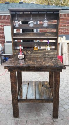 This is the wine bar we made for our daughter out of wooden pallets.