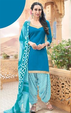 Picture of Iconic Steel Blue Cotton Patiala Salwar Kameez