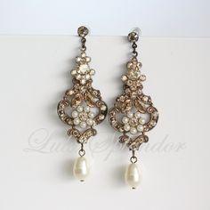 Chandelier Wedding earrings Vintage Bridal Earrings Swarovski Golden shadow Crystal Pearl Antique Brass Wedding Jewelry. AMY