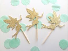 10 Gold Glitter FAIRY Cupcake Toppers.  by PaperTrailbyLauraB