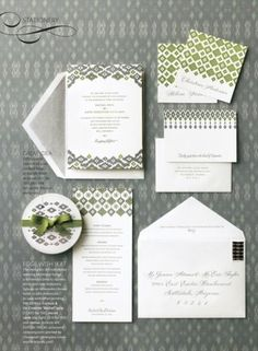 Ikat invitation suite with two or three patterns