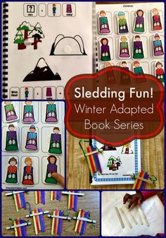 """Where are the Children Sledding?"" - the last book in our Winter Adapted Book Series for students with Autism - focuses on following directions, pronoun use, & location identification. Pair this with our sled craft & you've got even more skill work! From theautismhelper.com"
